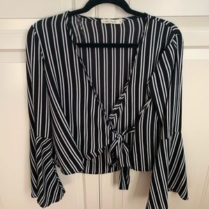 Black and white wrap blouse
